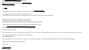 Henvendelse om å kjøpe lenker per e-post